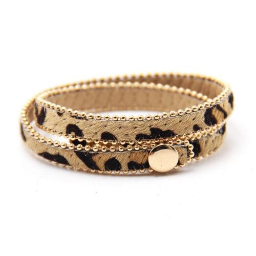 Nouveau bouton réglage Bracelet Multicolore Imprimé Léopard Boutique Cadeau Pour Femmes G