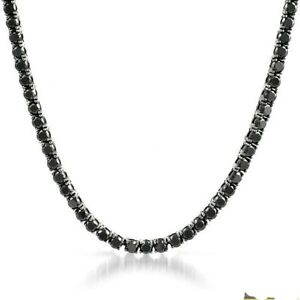Stainless-Steel-Black-CZ-51-Carat-Iced-Out-Tennis-Chain
