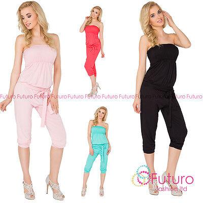 Erfinderisch Womens 3/4 Length Jumpsuit With Belt Bandeau Playsuit Catsuit Sizes 8-14 1083 Diversifizierte Neueste Designs