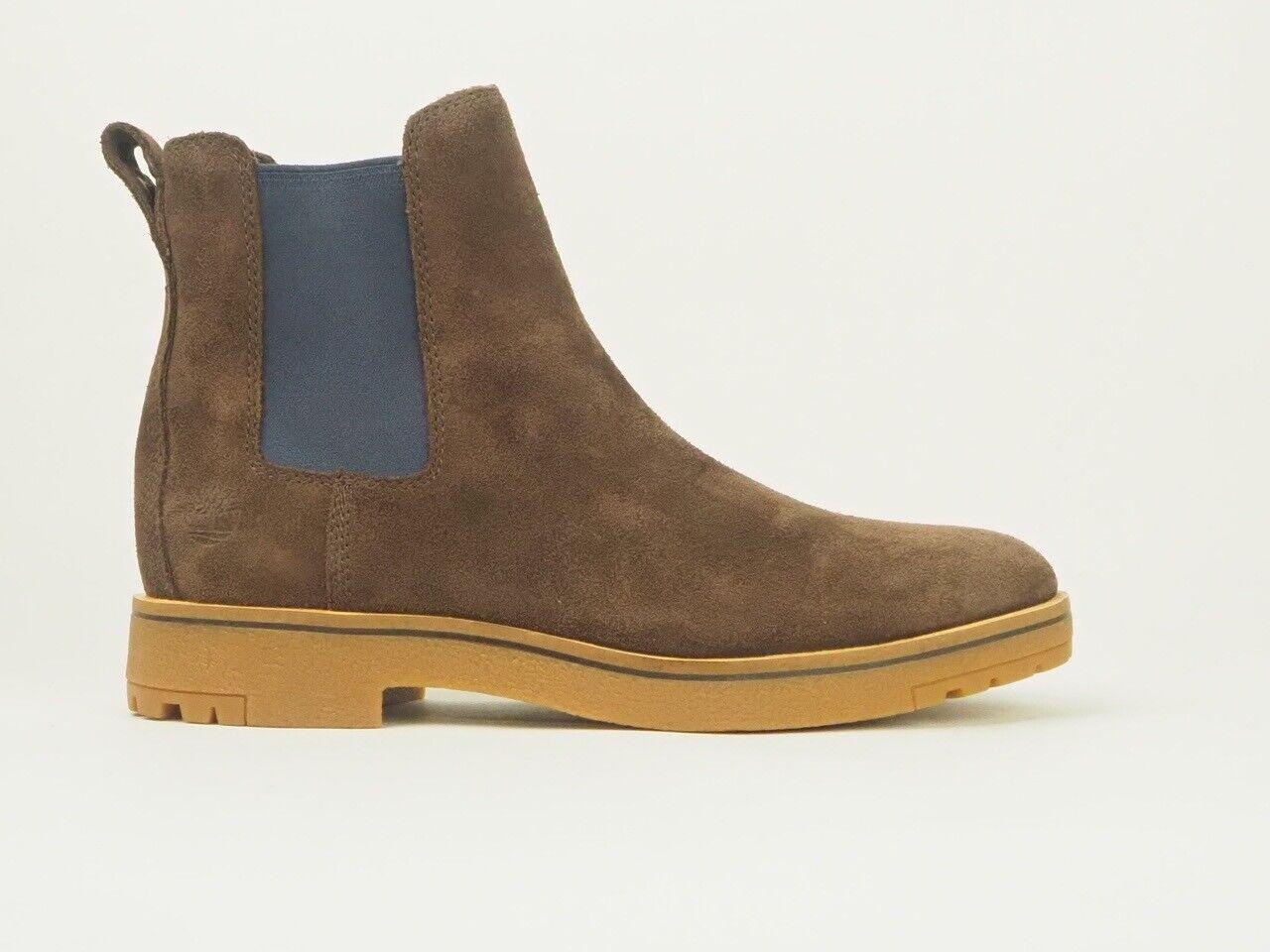 Mens Timberland Folk Gentleman A23VJ Dark Brown Suede Pull On Chelsea Boots