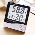 Hygrometer Meter Digital LCD Thermometer Gauge Indoor Clock Alarm Outdoor