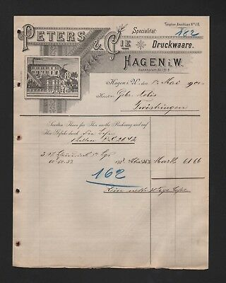 Peters & Cie Druckware Rechnung 1900 Rational Hagen