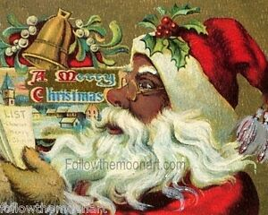 Image Is Loading Vintage African American Black Santa Claus Christmas Wall