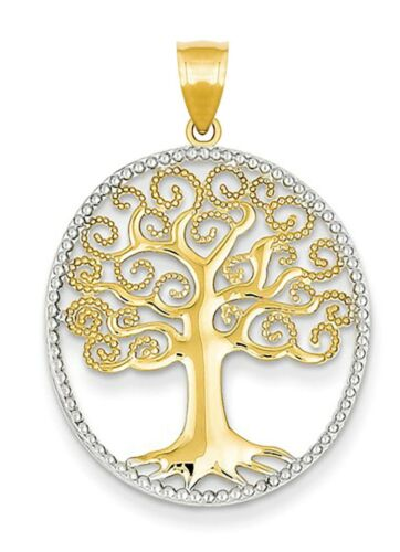 Neu 14k Gelbgold /& Weißgold Lebensbaum Anhänger Charm