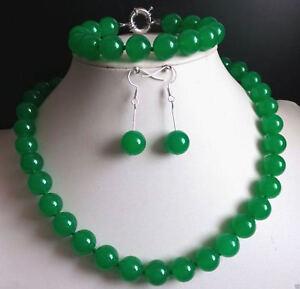 TempéRé 6-14 Mm Vert Naturel Jade Pierres Précieuses Perles Rondes Collier Bracelet Boucles D'oreilles Aaa +-afficher Le Titre D'origine
