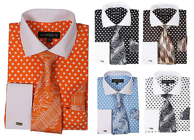 Men/'s French Cuff Cotton Polka Dot Dress Shirt w// Tie /& Hanky Set #613 Sky Blue