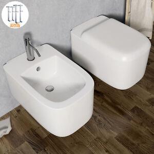 Sanitari sospesi bagno in ceramica con staffe e sedile softclose ...