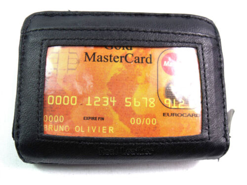 Unisex Nero Vera Pelle Concertina BORSETTA titolare della carta di credito ID PHOTO