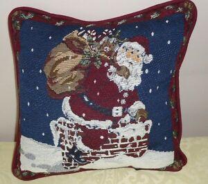 Santa Claus Chimney Top Tapestry Christmas Pillow 11 5 Quot By