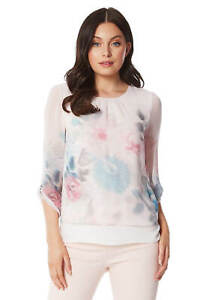 Roman-Originals-Womens-3-4-Length-Sleeve-Floral-Overlay-Top