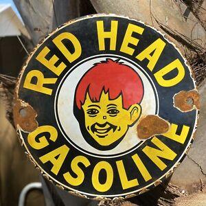 VINTAGE RED HEAD GASOLINE PORCELAIN METAL SIGN GAS STATION PUMP PLATE Boy OIL