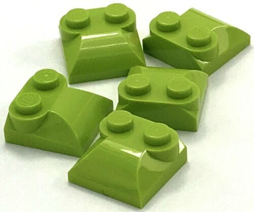 Lego 5 New Lime Brick Modified 2 x 2 x 2//3 Two Studs Curved Sloped End Pieces