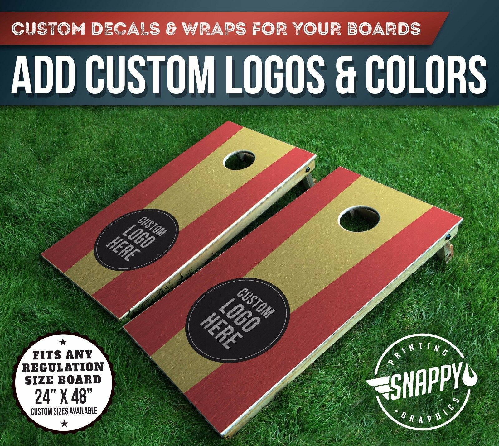 Cornhole Vinyl Decals, Bag Toss Board Wraps, ADD  YOUR OWN LOGO & COLORS - Pair  a lot of concessions