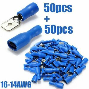 100pcs-Fully-Female-amp-Male-Spade-Terminals-Crimp-Connector-Blue-16-14AWG