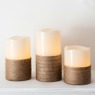 Set of 3 Wax Battery Operated Flickering LED Flameless Candles with Rope Detail
