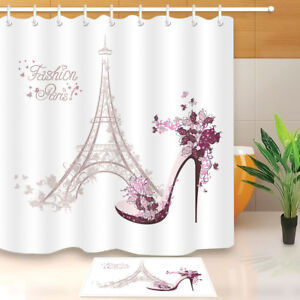 Image Is Loading Fashion Paris Eiffel Tower Fabric Shower Curtain Set
