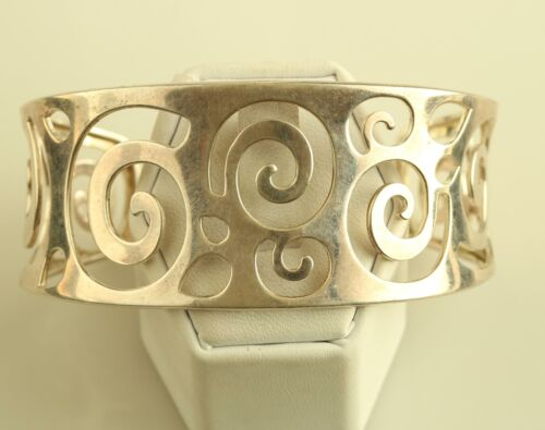 Sterling Silver Wide 70/'s Cirlcles Stacking Cuff Bracelet WomenLadies Ross Simons Filigree SwirlSpiral BohoHippieGypsy