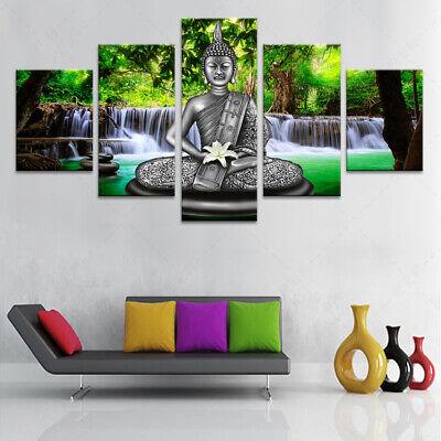 Buddha Statue Meditation Spiritual Religious Yoga 5 Piece Canvas Decor Wall Art