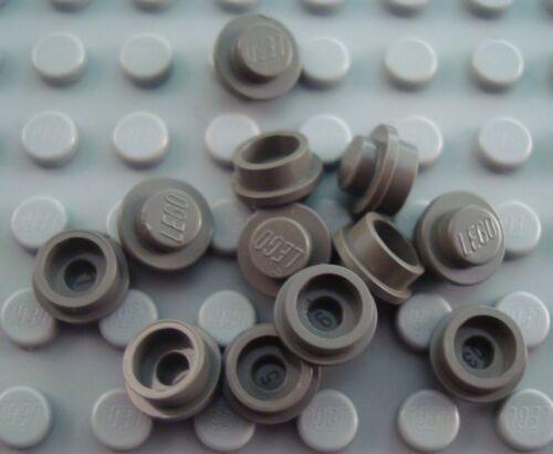 LEGO Lot of 12 Dark Gray 1x1 Round Plates