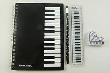 Music Themed Keyboard Notebook Mechanical Pencil, White Ruler and Eraser Station