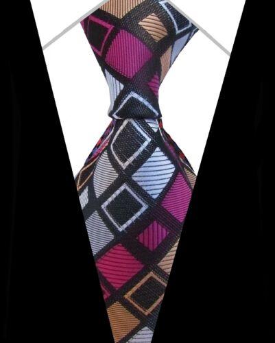 SMART GENTS TIE /> Mens Classic Woven Black Multi Square Check Block Silk Necktie