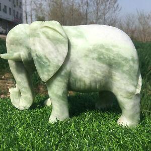 5-6LB-6-6LB-Natural-green-jade-Elephant-skull-hand-carved-crystal-totem-random