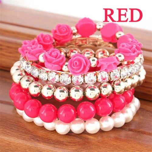 Bangle Resin Hot Sale Fashion Mix Flower Beads Stretch Bracelet Temperament
