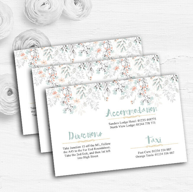 Coral & Blau Autumn Watercolour Personalised Wedding Guest Information Cards