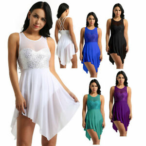 Womens-Ladies-Lyrical-Dance-Costume-Dress-Ballet-gymnastic-Leotard-Sequins-Skirt