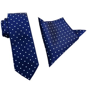 a03d0371276fc Mens Navy Blue with white Polka Dots 8.5cm Neckties Tie and Pocket ...