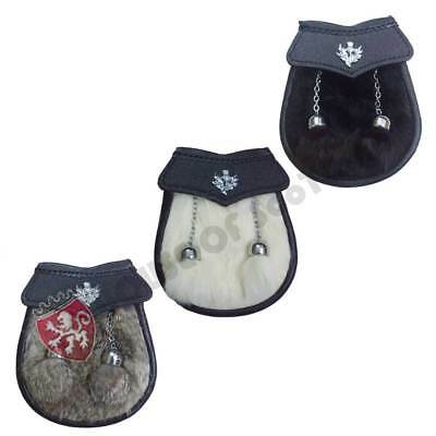Child/'s Kilt Sporran Rabbit Fur Thistle Badge//Kids Sporrans Boys Black Leather