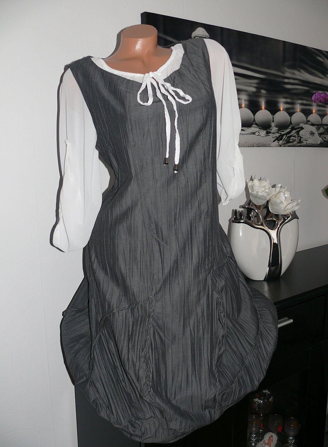 ♥ Kleid Tunika Stiefelkleid Lagenlook Ballonkleid elegant grau ITALY 40 42 NEU ♥