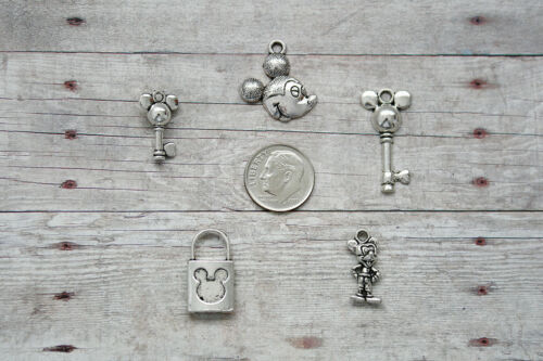 Dream 11pc or 5pc Mickey Mouse Charm Set Lot Collection // Key Lock Castle