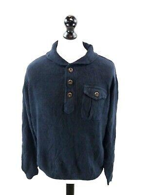 Chaps Ralph Lauren Da Uomo Maglione Pullover L Large Blu Navy Blue Ceramic & Cotone-mostra Il Titolo Originale Facile Da Usare