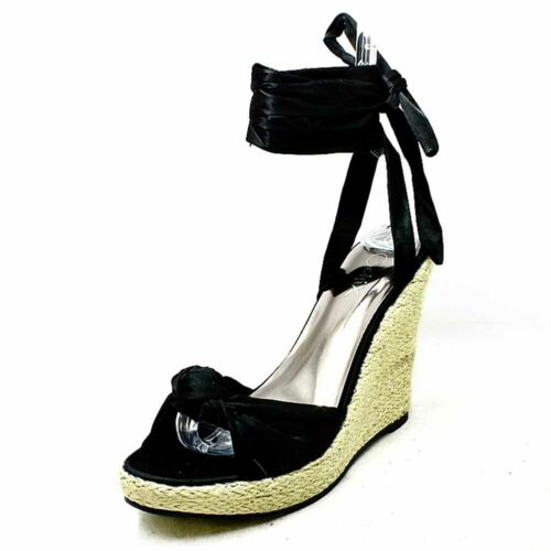 Ladies satin high heel wedge sandals shoes with ankle tie