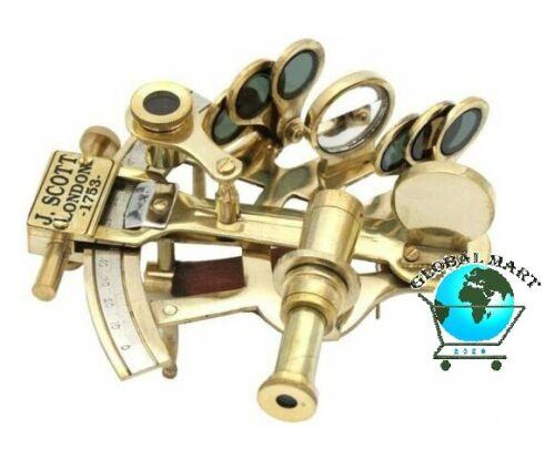 "Nautical Vintage Marine Sextant J.Scott London Solid Brass Pocket 5/"" Sextant"