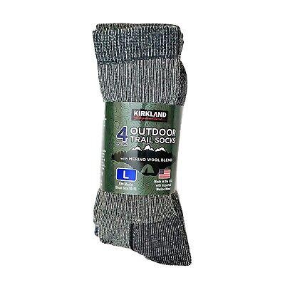 4 Pairs Merino Wool Socks Medium Large Trail Men Women Walking Hiking KIRKLAND