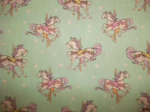 ,Carousel Horses Aqua,purple,pink,//Neutral Handmade cotton crib sheet