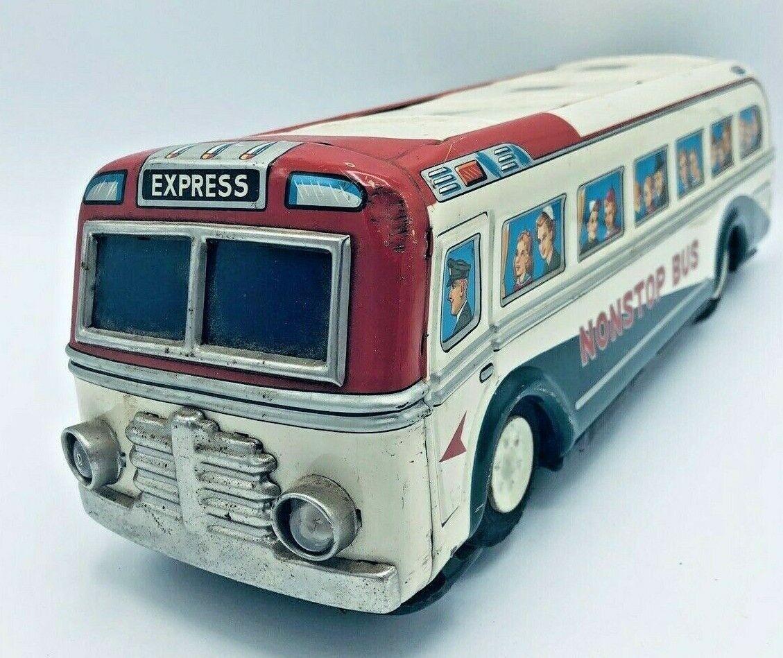 Década de 1960 Vintage Tin bus por Masudaya  juguetes modernos Japón  con pilas sin probar