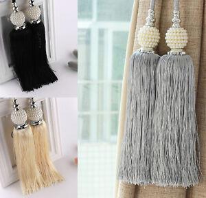 Large-Curtain-Tie-Backs-Beaded-Ball-Tassel-Rope-HoldBacks-Home-Decor-Tieback