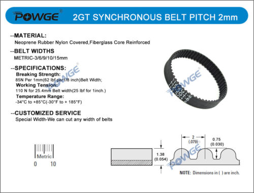 5//10pcs 2GT//GT2 Synchronous Timing Belt C=1220//1250mm Rubber loop Width 3//6//9mm