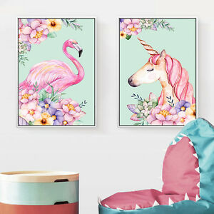 Unicorn-Flamingo-Flower-Canvas-Poster-Art-Prints-Children-Baby-Room-Decoration