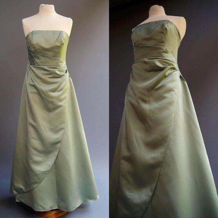 David's Bridal Sage Mint Green Satin Strapless Formal Dress Ball Gown sz 10