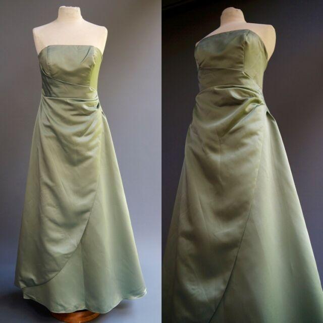 Davids Bridal Sage Mint Green Satin Strapless Formal Dress Ball