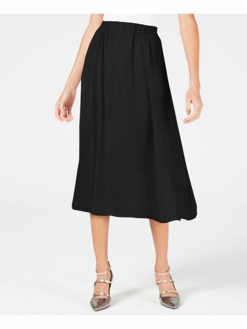Alfani Skirt Below Knee A Line Sateen Women Black Sz L NEW NWT 396