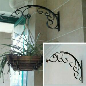 Cast-Iron-Hanging-Flower-Basket-Bracket-Hook-Garden-Plant-Metal-Holder-Art-Decor