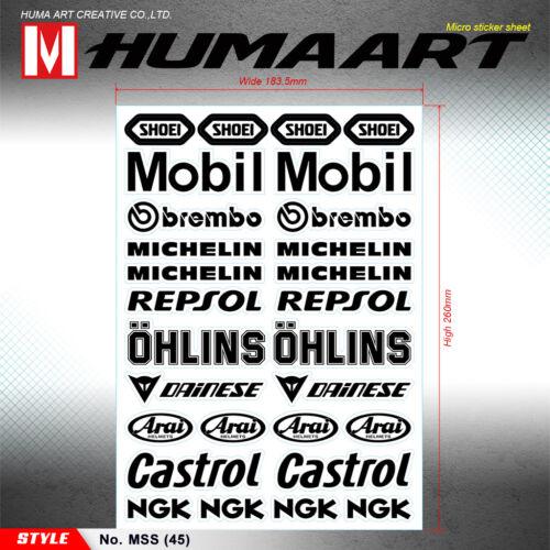 Arai Helmets Vinyl Stickers Decals Sheet Car Bike ATV Motorbike Universal 16 Pcs
