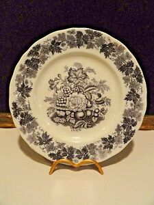 Rorstrand Mulberry Flowers Plate Transfer Ware Antique Ebay