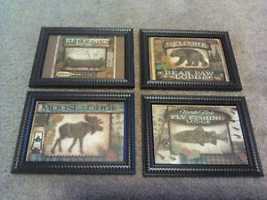 4-Lodge-Pictures-Moose-Fish-Bear-Log-Cabin-Wall-Hanging-Decor-4pc-Set-Rustic