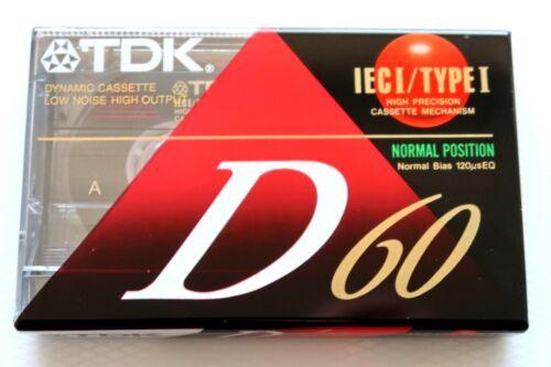 1992 TDK D 60 NORMAL POSITION TYPE I BLANK AUDIO CASSETTE